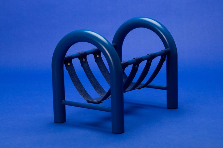 Powder-Coated Limited Edition Tubular Magazine Rack by Another Human, Blue For Sale