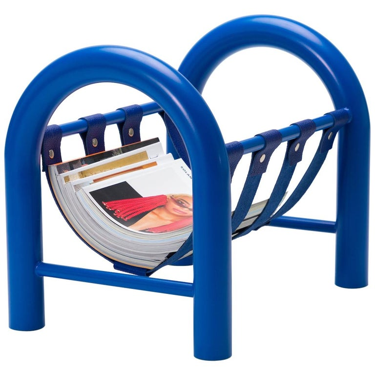 Limited Edition Tubular Magazine Rack by Another Human, Blue For Sale