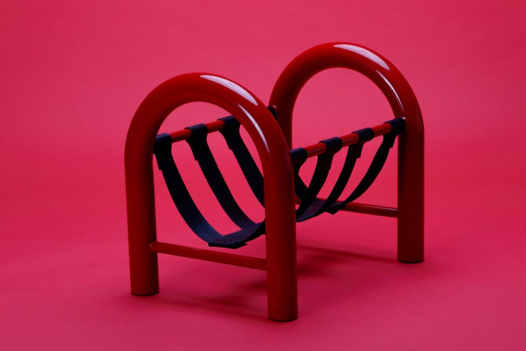 American Limited Edition Tubular Magazine Rack by Another Human, Red and Black For Sale