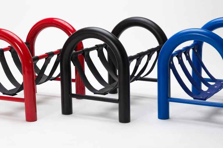 Limited Edition Tubular Magazine Rack by Another Human, Red and Black In New Condition For Sale In Los Angeles, CA