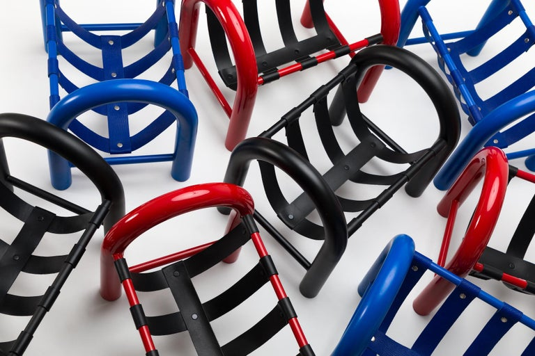 Contemporary Limited Edition Tubular Magazine Rack by Another Human, Red and Black For Sale