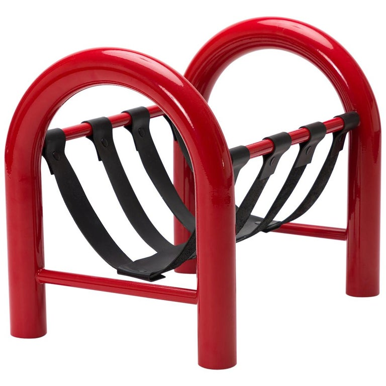 Limited Edition Tubular Magazine Rack by Another Human, Red and Black For Sale