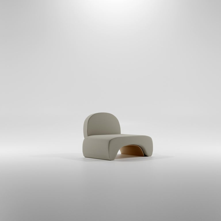 French Limited Edition U Chair in Concrete Cement and Bronzed Steel Lounge Chair For Sale