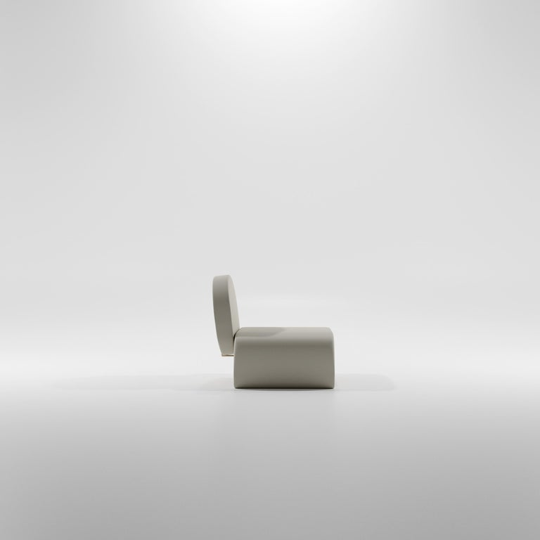 Cast Limited Edition U Chair in Concrete Cement and Bronzed Steel Lounge Chair For Sale