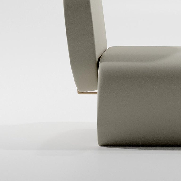 Contemporary Limited Edition U Chair in Concrete Cement and Bronzed Steel Lounge Chair For Sale