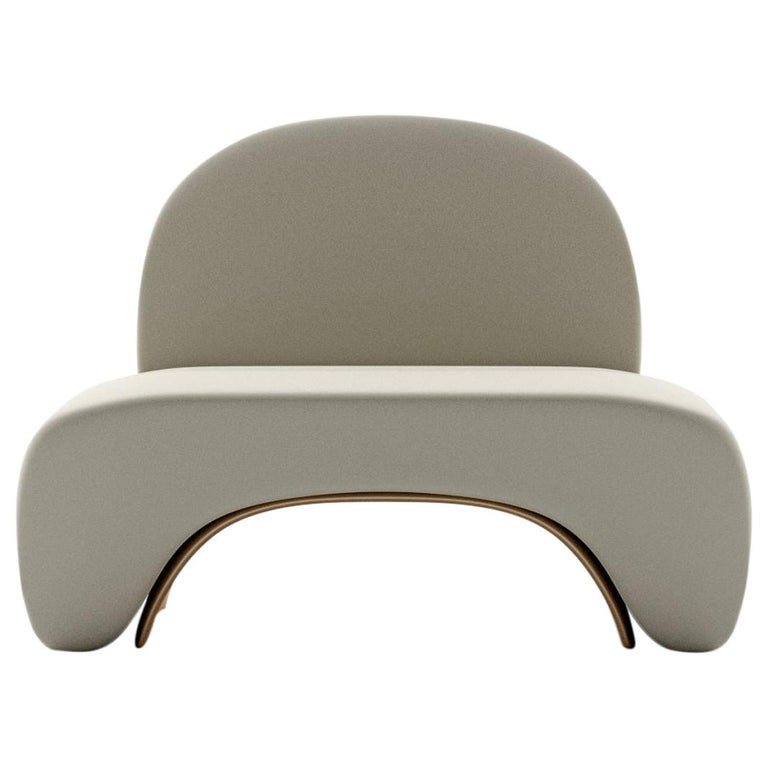 Limited Edition U Chair in Concrete Cement and Bronzed Steel Lounge Chair For Sale