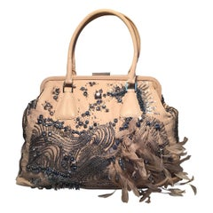 Limited Edition Valentino Alice Glam Sequin and Feather Frame Tote Bag