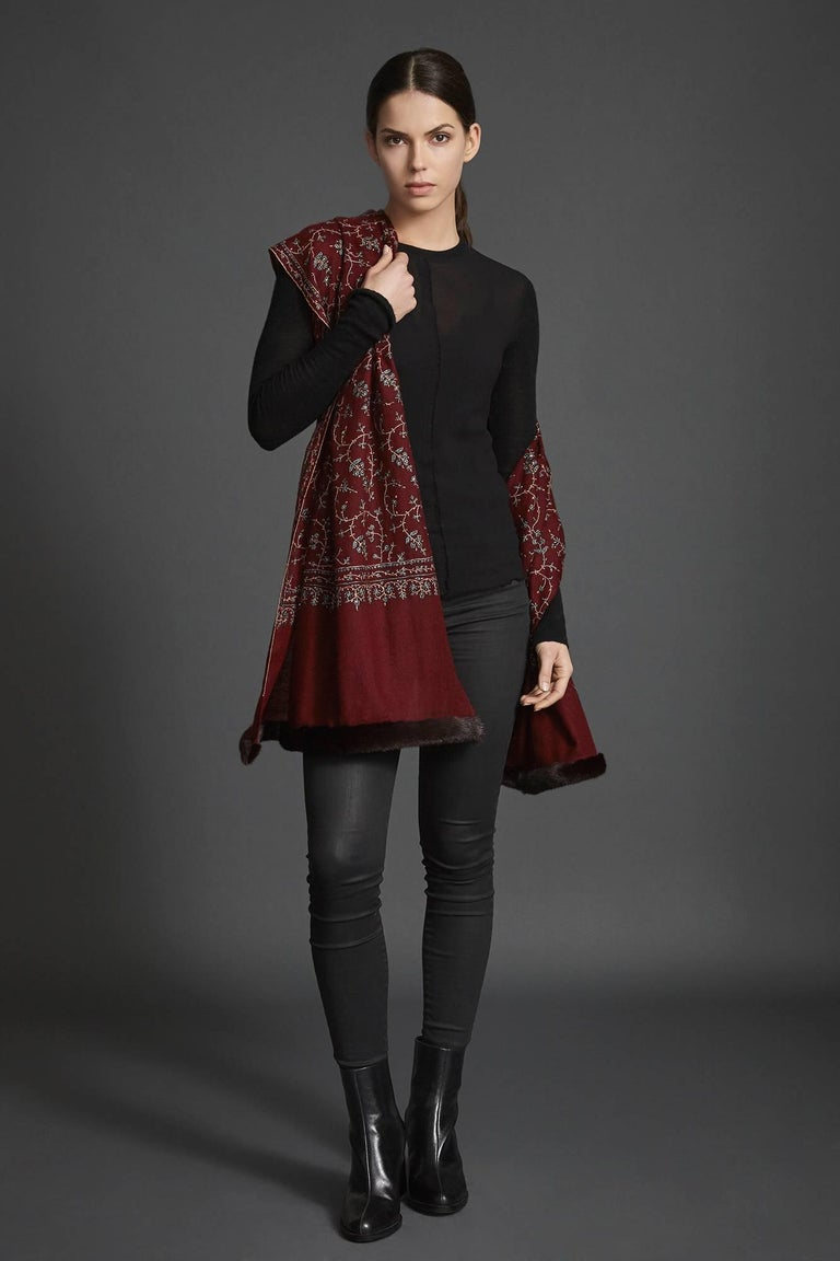 Verheyen London Hand Embroidered Kashmiri 100% Cashmere Mink Trimmed Shawl.  Verheyen London's shawl is spun from the finest embroidered woven in 100% cashmere from Kashmir. The embroidery can take up to 1 year to embroider these shawls and each one