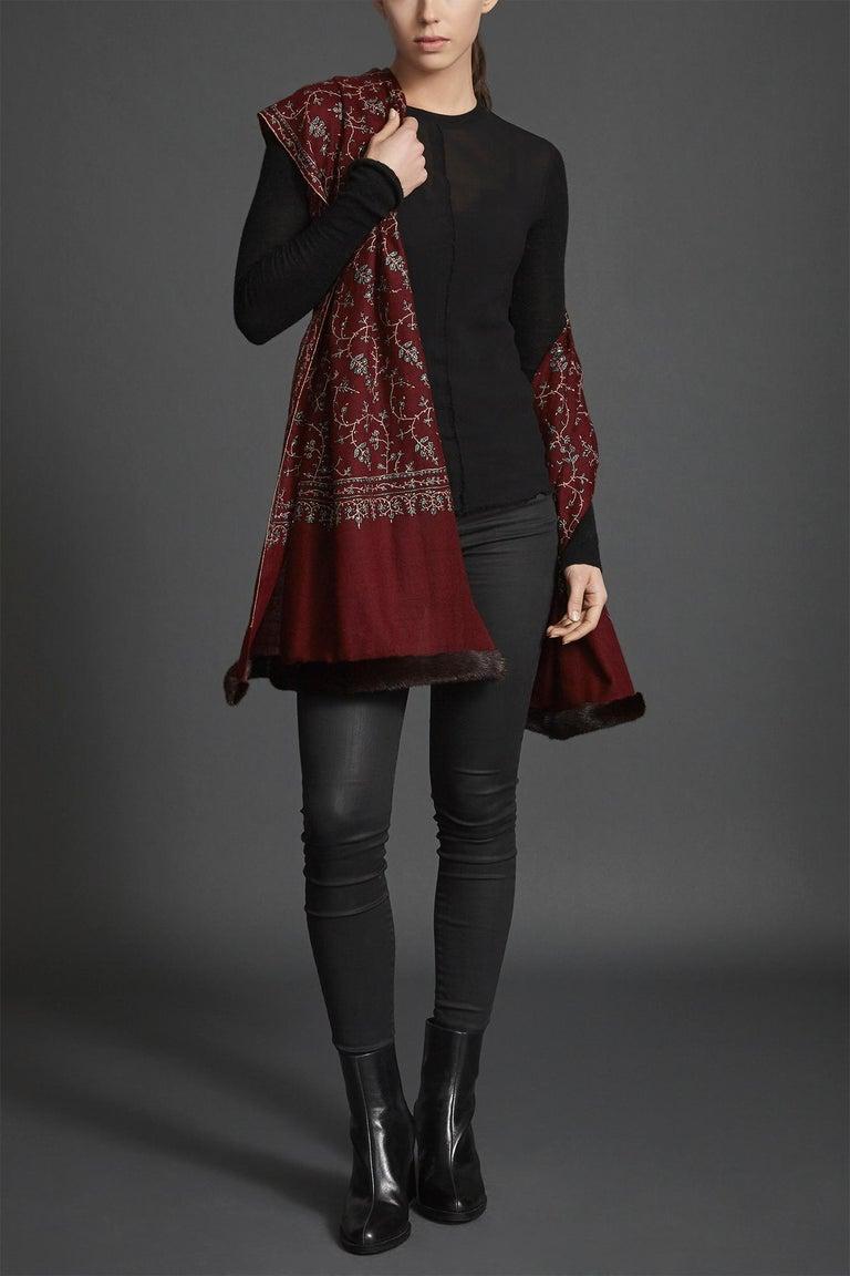 Women's or Men's Limited Edition Verheyen Hand embroidered Mink Fur Trimmed Cashmere Shawl - Gift For Sale
