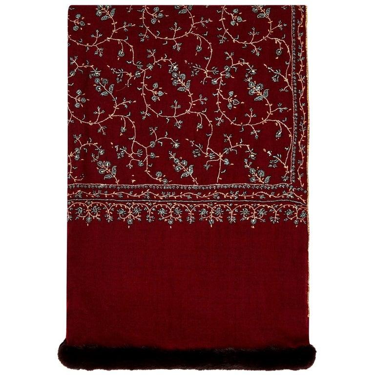 Limited Edition Verheyen Hand embroidered Mink Fur Trimmed Cashmere Shawl - Gift For Sale