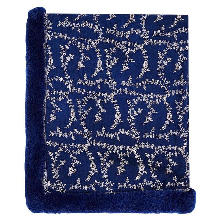 Limited Edition Verheyen London Embroidered Sapphire Blue Shawl & Blue Mink Fur  For Sale