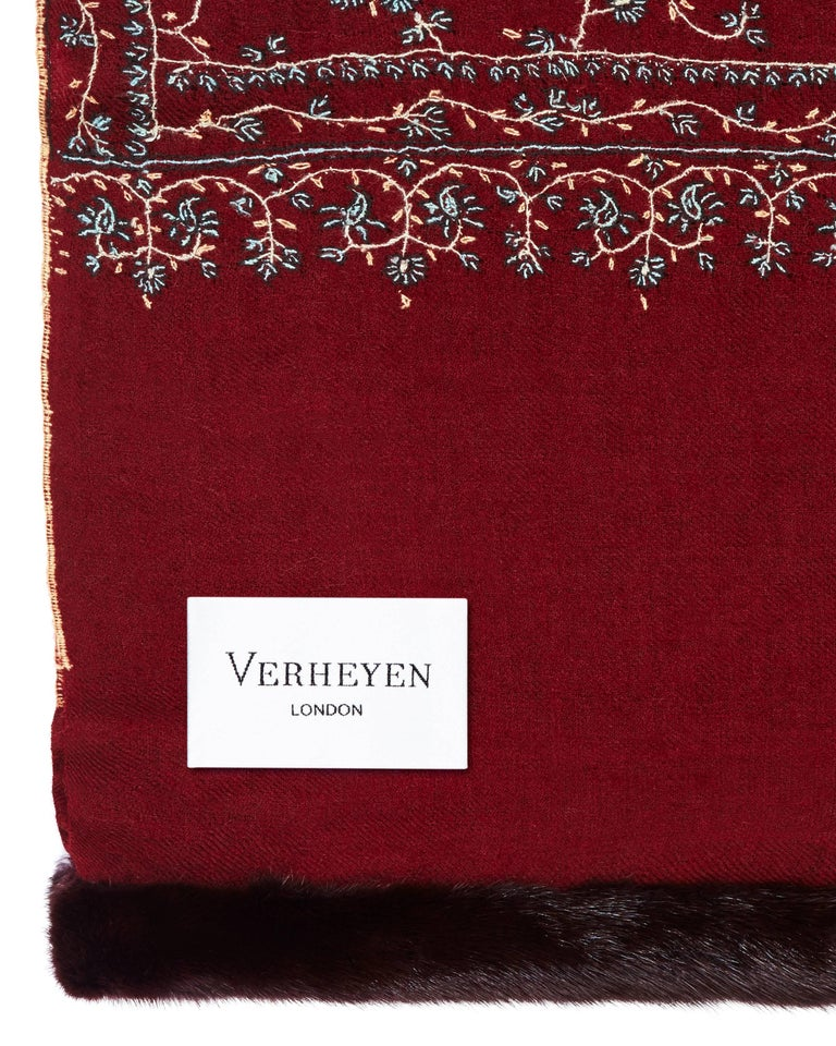 Red Limited Edition Verheyen London Hand embroidered Mink Fur Trimmed Cashmere Shawl For Sale