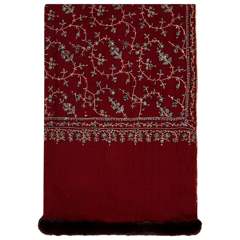 Limited Edition Verheyen London Hand embroidered Mink Fur Trimmed Cashmere Shawl