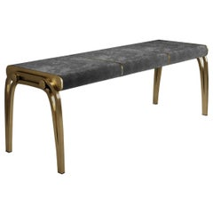 Limited Edition Victoria Bench in Black Velvet & Brass by R&Y Augousti