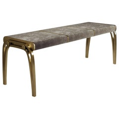 Limited Edition Victoria Bench in Cream Velvet and Brass by R&Y Augousti