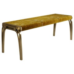 Limited Edition Victoria Bench in Mustard Velvet and Brass by R&Y Augousti