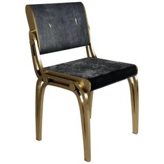 Shagreen Chair with Velvet Upholstery and Brass Accents by R&Y Augousti