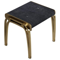 Limited Edition Victoria Stool in Black Shagreen and Brass by R & Y Augousti