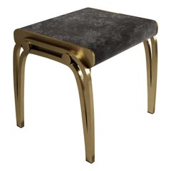 Limited Edition Victoria Stool in Black Velvet and Brass by R&Y Augousti