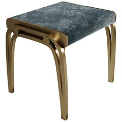 Limited Edition Victoria Stool in Blue Velvet and Brass by R&Y Augousti