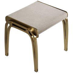 Stool in Cream Shagreen and Brass by R & Y Augousti