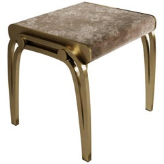Stool in Cream Velvet and Brass by R&Y Augousti