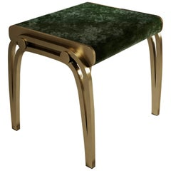 Limited Edition Victoria Stool in Green Velvet and Brass by R&Y Augousti