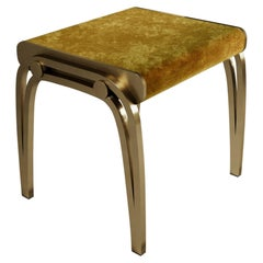 Limited Edition Victoria Stool in Mustard Velvet and Brass by R&Y Augousti