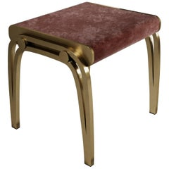 Limited Edition Victoria Stool in Pink Velvet and Brass by R&Y Augousti