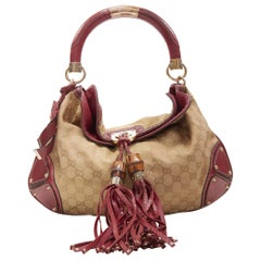 limited GUCCI Unicef Indy brown GG monogram red leather bamboo flap shoulder bag