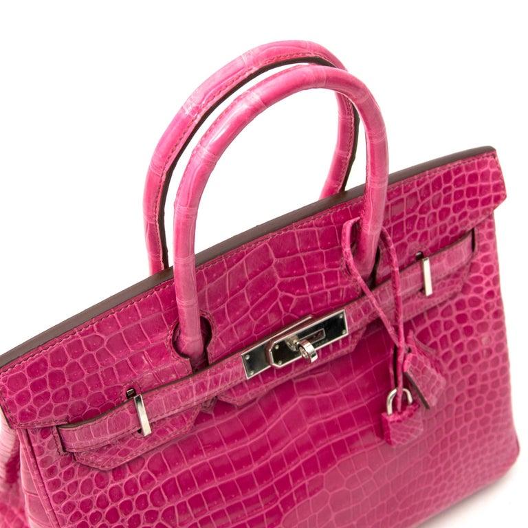 Pink Limited Hermès Birkin 30 Croco Porosus Lisse Fuchsia PHW For Sale