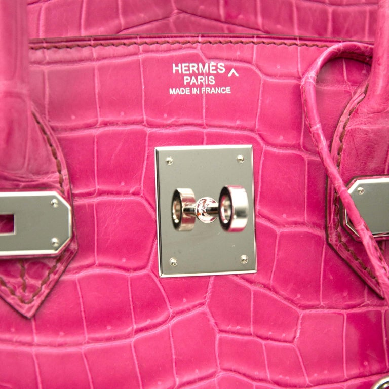 Women's or Men's Limited Hermès Birkin 30 Croco Porosus Lisse Fuchsia PHW For Sale