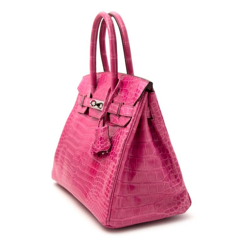 Limited Hermès Birkin 30 Croco Porosus Lisse Fuchsia PHW For Sale 1