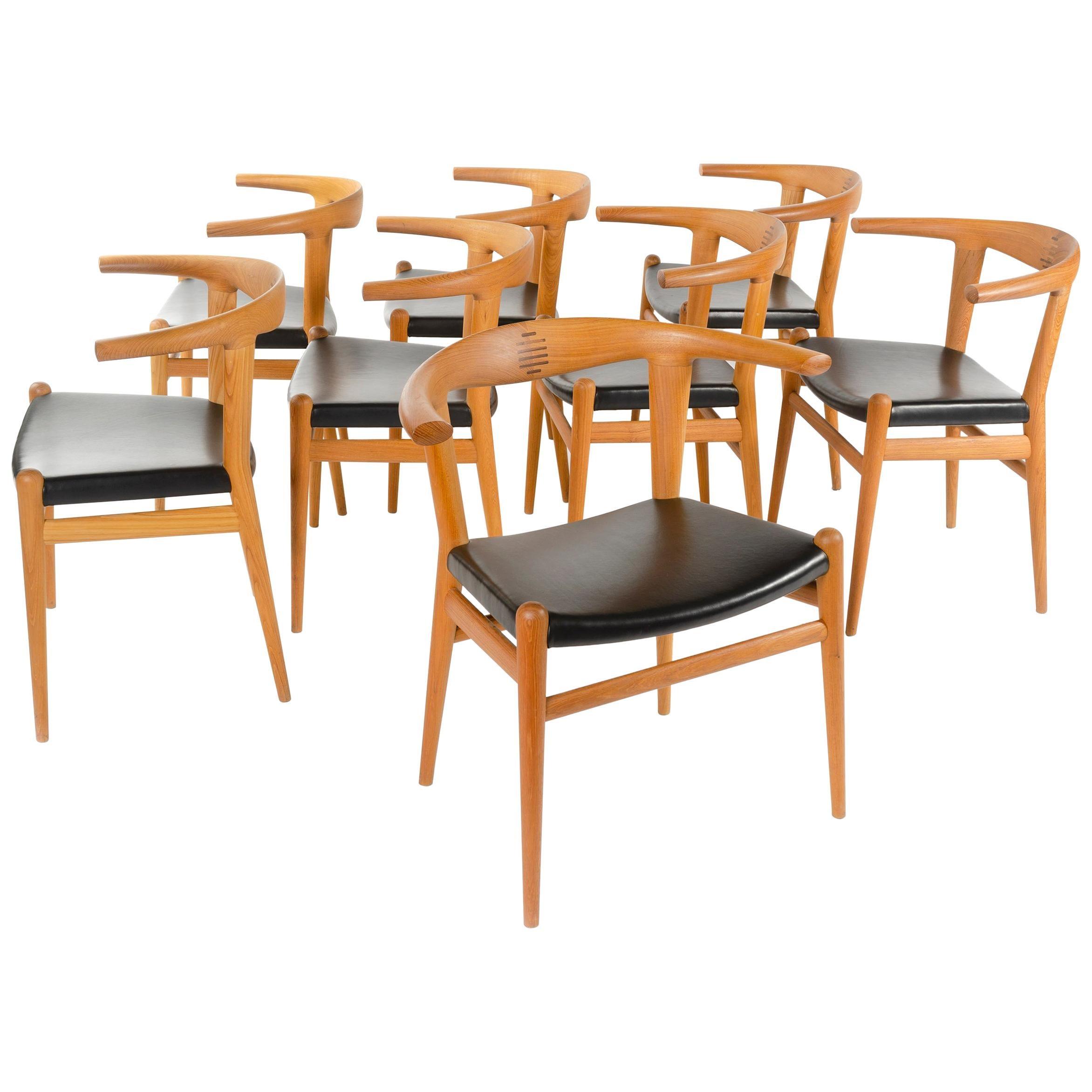 PP518 Limited Production Bullhorn Chair Set of 8 by Hans J. Wegner for PP Møbler