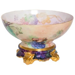 Limoge Punch Bowl with Matching Stand