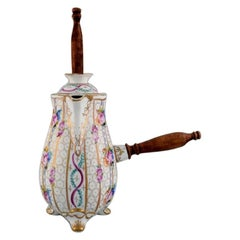 Limoges Chocolate Pot in Hand Painted Porcelain with Floral and Gold Decoration