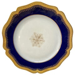Limoges Cobalt and Gold Rimmed Dinner Plates, Set of 12