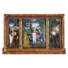 Limoges Enamel Plaque after Gerard David's Baptism of Christ