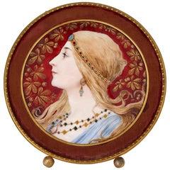Limoges Enamel Plaque with Painted Profile Portrait