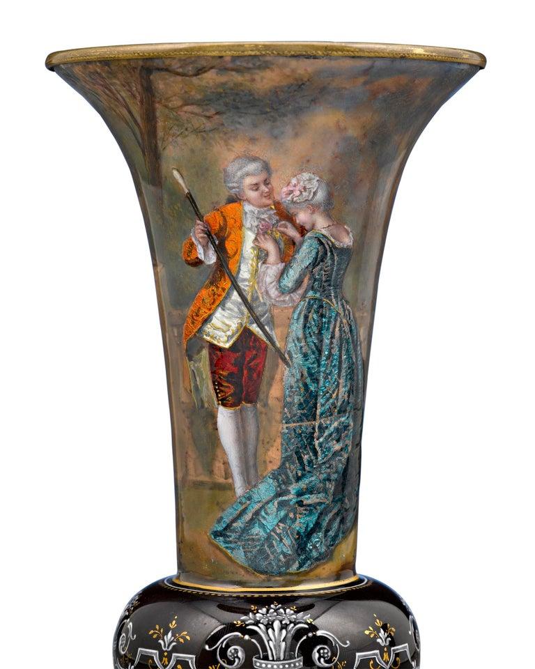 French Limoges Enamel Vases For Sale