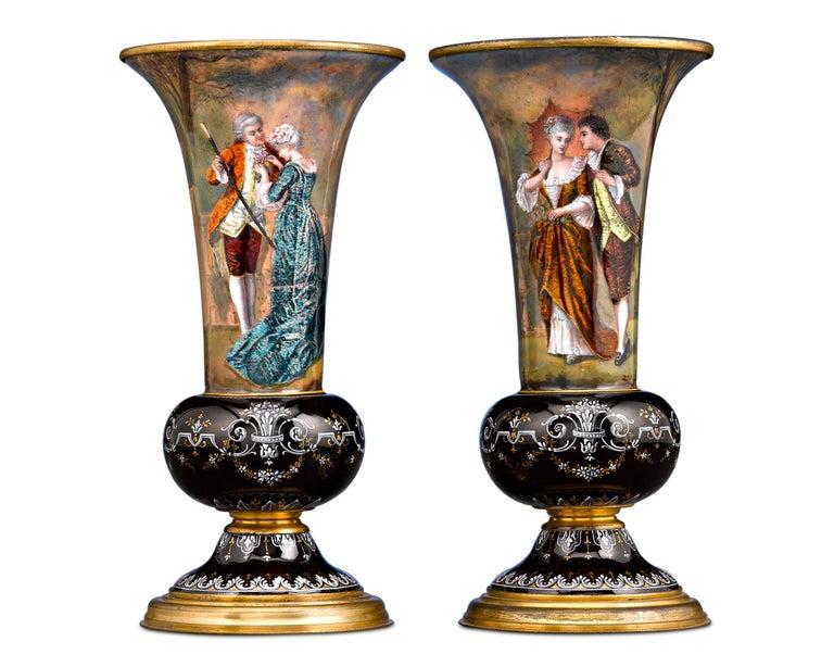 19th Century Limoges Enamel Vases For Sale
