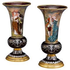 Limoges Enamel Vases