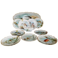 Limoges Fish Design Plates with Large Platter, Sauce Boat and Underplate