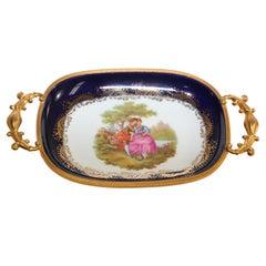 Limoges France Dish in Cobalt Royal Blue with Fine Gold Trim