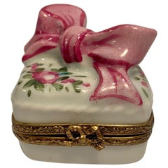 "Limoges France Hand Painted ""Gift Wrapped Present"" Bow Top Porcelain Box"