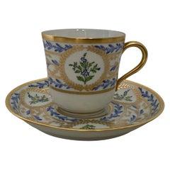 Limoges France Hand Painted Porcelain Demitasse and Saucer
