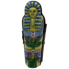 Limoges France Hand Painted Porcelain Egyptian King Tut Shaped Trinket Box
