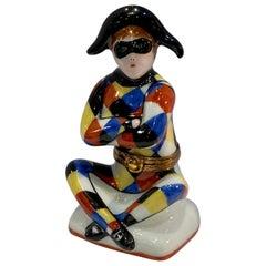 Limoges France Hand Painted Porcelain Harlequin or Arlequin Shaped Trinket Box
