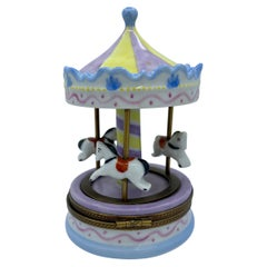 Limoges France Hand Painted Porcelain Manege Merry Go Round Carousel Trinket Box