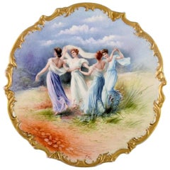 Limoges, France, Large Antique Dish in Hand Painted Porcelain with Dancing Women